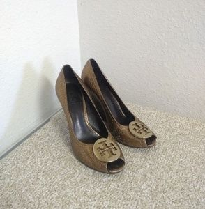 Tory Burch Bronze Pebbled Leather Wedge Shoes
